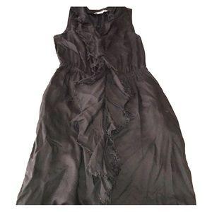 Black banana republic button down ruffle dress